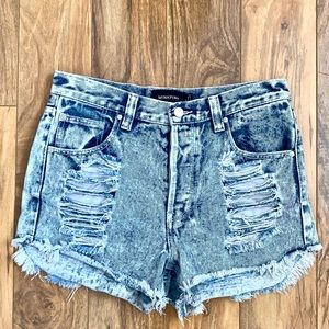 MINKPINK Acid Wash Slasher Shorts